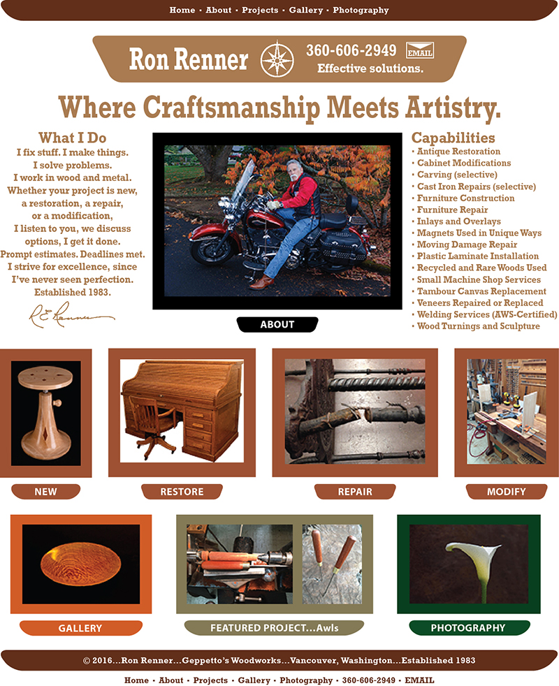 ... since 1983, custom handmade furniture, furniture repair, antique  furniture restoration, fix, broken, damage, Vancouver WA, Portland OR. - Home, Ron Renner, Geppetto's Woodworks, Since 1983, Custom Handmade